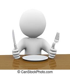 Un hombre hambriento 3d esperando su comida
