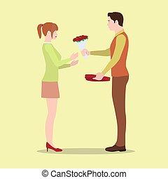 Un hombre le da flores a su novia y una caja de chocolates.