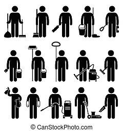 Un hombre más limpio limpiando herramientas