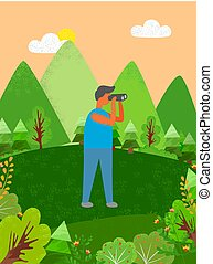 Un hombre mirando a distancia con ayuda de binoculares
