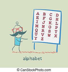 Un hombre se mantiene con el alfabeto