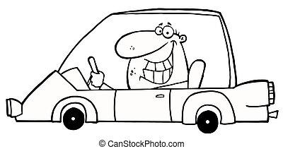Un hombre sonriente con un auto