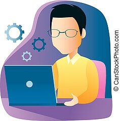 Un hombre trabajando con portátil