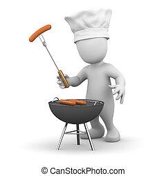 Un hombrecito de 3D cocinando una barbacoa