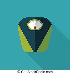 Un icono a escala de peso con sombra larga