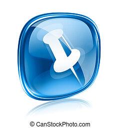 Un icono azul de Thumbtack, aislado en un fondo blanco.
