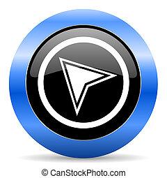 Un icono brillante azul de navegación