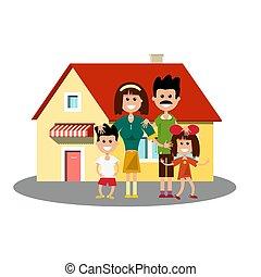 Un icono con familia feliz
