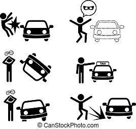 Un icono de accidente de coche al estilo silueta