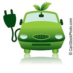 Un icono de auto eléctrico híbrido verde