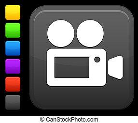 Un icono de cámara en el botón cuadrado de Internet
