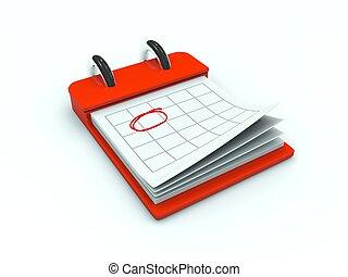 Un icono de calendario. Serie roja