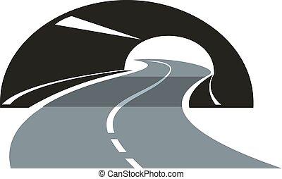 Un icono de carretera pasando por un túnel