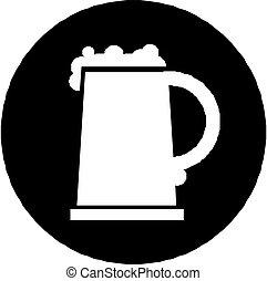 Un icono de cerveza aislado en blanco