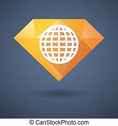 Un icono de diamantes con un globo