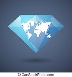 Un icono de diamantes con un mapa mundial
