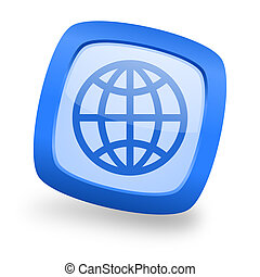 Un icono de diseño de telaraña azul cuadrado