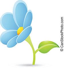 Un icono de flor azul claro