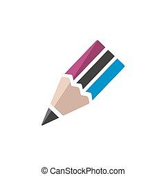 Un icono de lápiz en un fondo blanco. Ilustración de vectores