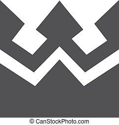 Un icono de la corona en negro en un fondo blanco. Ilustración de vectores