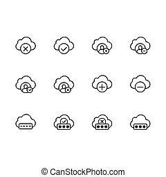 Un icono de la línea de ilustración de nubes. Contiene tales iconos sincronización de datos, almacenamiento de nubes y seguridad de foto, imagen. Intercambio de datos entre usuarios, documentos personales y otros