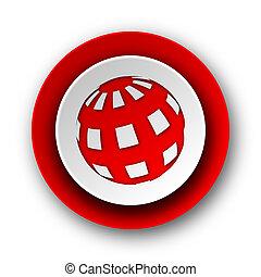 Un icono de la red moderna de la Tierra sobre fondo blanco