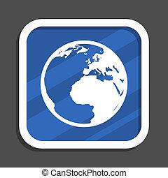 Un icono de la web cuadrada de diseño azul terrestre