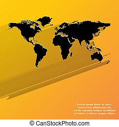 Un icono de mapa mundial, diseño plano