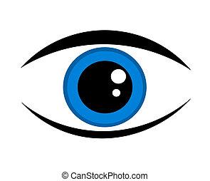 Un icono de ojos azules