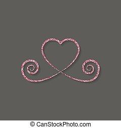 Un icono de oro rojo y blanco. Logo de Glitter, símbolo de amor en un fondo negro. Usa la decoración, el diseño. Ilustración de vectores.