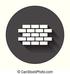 Un icono de pared de ladrillos al estilo plano. La ilustración del símbolo de la pared con sombra larga.