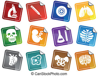 Un icono de pegatina de biología