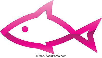 Un icono de pescado rosa