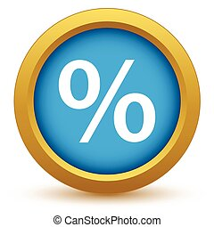 Un icono de porcentaje de oro