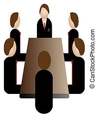 Un icono de reunión de negocios