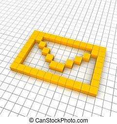 Un icono de tres cartas en la red. Diseño de ilustración.