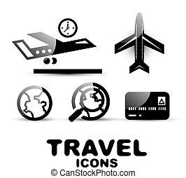 Un icono de viaje negro y brillante