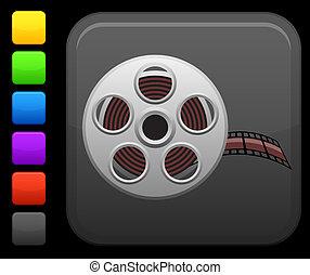 Un icono de video en el botón cuadrado de Internet