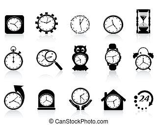 Un icono del reloj negro listo