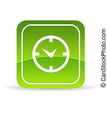 Un icono del reloj verde