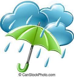 Un icono del tiempo lluvioso con nubes y paraguas