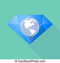 Un icono diamante de larga sombra con un globo de América