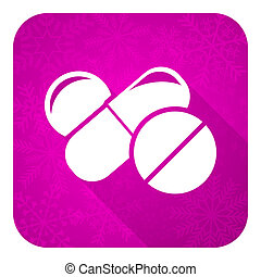 Un icono plano de Medicine Violet, botón de Navidad, símbolo de drogas, pastillas