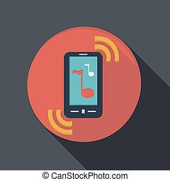Un icono plano de papel, un teléfono sonando, la llamada