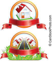Un icono redondo con casas