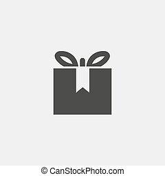 Un icono regalo aislado en el fondo blanco. Ilustración de vectores