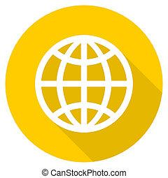 Un icono web amarillo de diseño de la Tierra