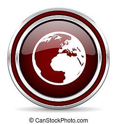Un icono web de color rojo de la Tierra