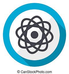 Un icono web de diseño azul de átomos