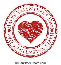 Un ilustrador de vector de un sello de goma grunge con corazón y texto (el día de San Valentín feliz escrito dentro del sello) aislado en el fondo blanco
